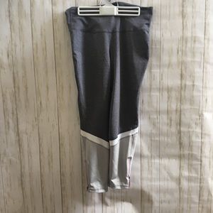 Grey blocked leggings with pink zippers